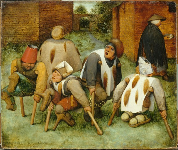 tableau de Pieter Brueghel l'Ancien représentant 5 mendiants cul de jatte avec des béquilles, arborant des visages difformes dans une cour d'un hospice de briques rouges. Ils portent des vêtements grotesques sur lesquels sont accrochés des queues de renard. Ils ont l'air très agités. Derrière eux une femme s'éloigne. Elle tient dans ses mains des sébiles