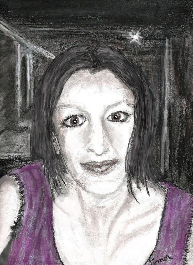 Ce dessin au fusain et pastel représente ma femme, Morgane. Elle est de face, le visage rayonnant, les yeux grands et pétillants, souriante. On ne voit que son visage et le haut de ses épaules. Elle est assise à une table à la terrasse d'un restaurant. Elle porte une sorte de petit boléro de couleur mauve. C'est la nuit. L'arrière-plan est sombre avec un seul petit éclat de lumière.