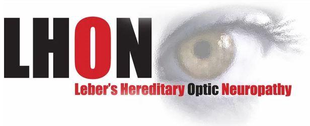 logo du site LHON Leber's Hereditary Optic Neuropathy. Sur fond blanc, les lettres du sigle LHON sont en noir pour le L, le H et le N, en rouge pour la lettre O. Sur la partie droite supérieure, on voit le dessin estompé d'un oeil vert, des cils et de la paupière en gros plan. Il s'agit de l'oeil gauche. Il vous regarde.