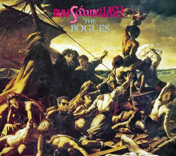 """Couverture de l'album The Sick Bed of Cuchulainn C'est une reproduction du tableau du peintre Géricault """"Le radeau de la Méduse""""  Le visage des membres du groupe The Pogues remplace celui de certains personnage du tableau"""