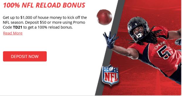 BetOnline NFL 100% Reload Bonus