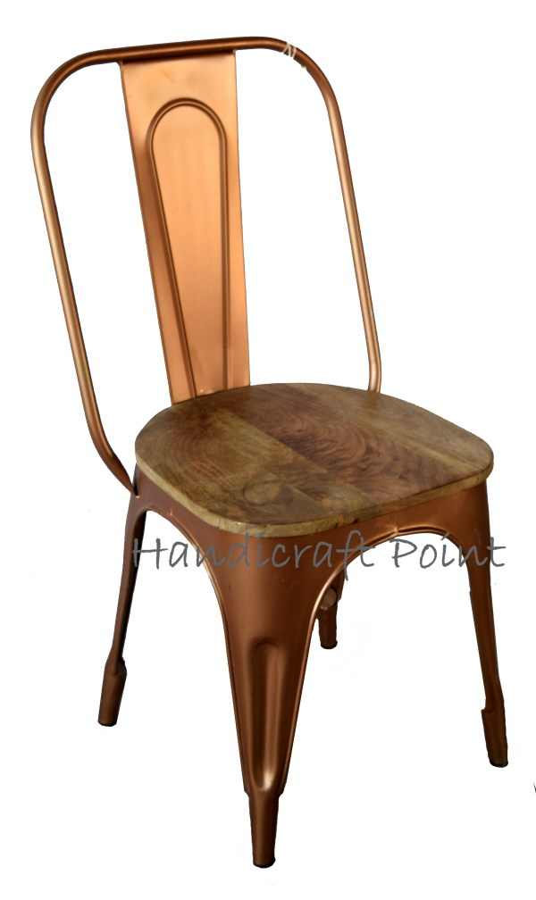 iron tolix chair with wooden seat