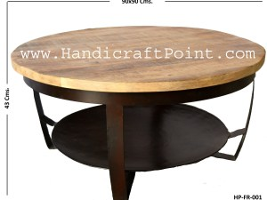 Iron Plate Wooden Top Coffee Table BIG (Rubby Black Finish)