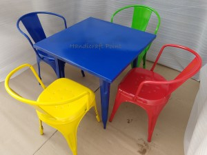 Colorful Tolix chair and table set – red, blue, yellow, Green