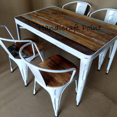 White distressed Industrial Arm Chairs and table with reclaimed color wooden top 2+2 seating and 2+2+1+1 seating
