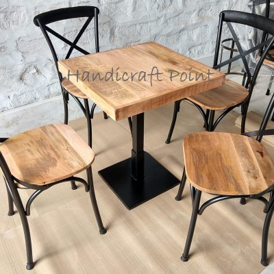 X Back chair with Wooden seat with 1 leg dining table