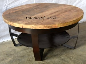 Iron Plate Wooden Top Coffee Table SMALL (Rubby Black Finish)