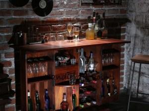 Oakville Bar Cabinet in Honey Oak Finish