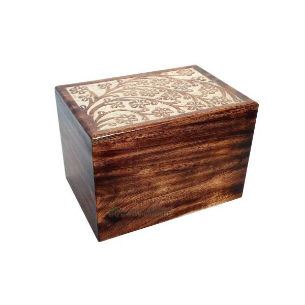 Wooden Cremation Keepsake For Adult, Wood Ashes Casket