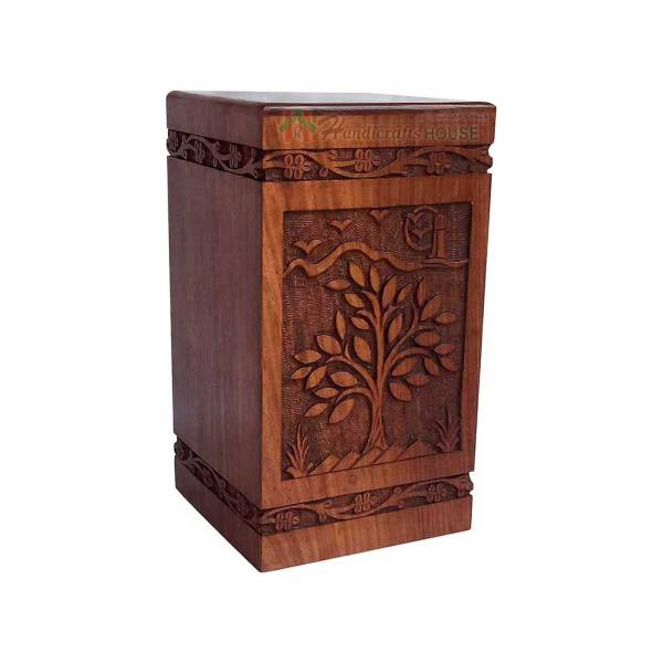 Wooden Urns For Human Ashes, Wood Cremation Urn, Decorative Casket Boxes, Memorials Box
