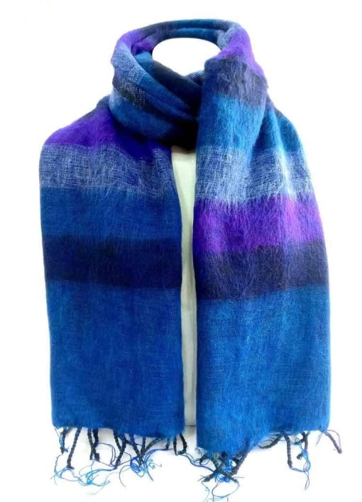 yak wool shawl stripe blue