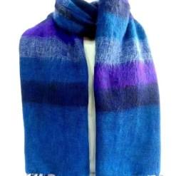 yak wool shawl stripe blue
