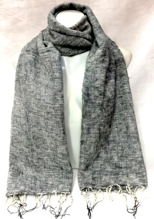 handwoven yak wool shawl light grey color