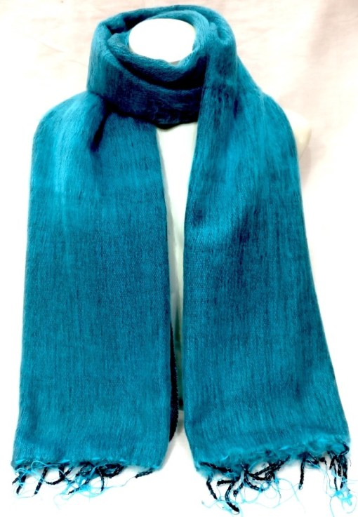 Himalayan Yak Wool Shawl turquoise colors