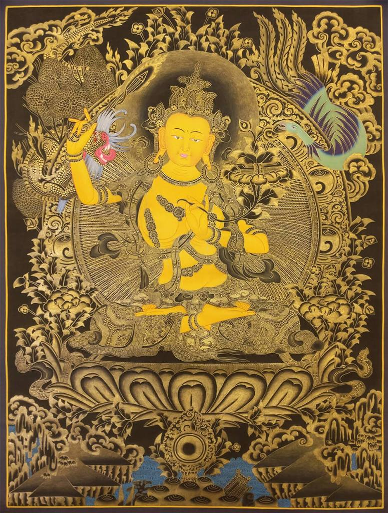 Golden Manjushree Thangka