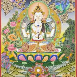 4 arms chenrezig thangka