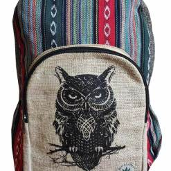 owl printed hemp bag
