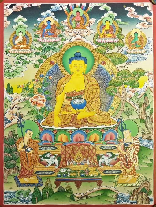 shakyamuni buddha thangka 5 deity