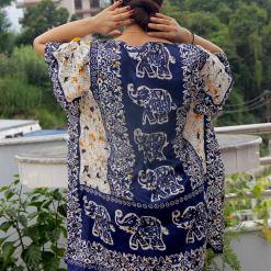 Satin Kaftan Knee Length Dress