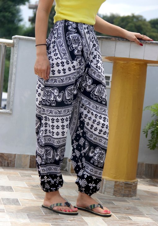 Janaki Cotton Black and White Trouser