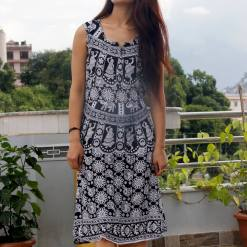Mithila Women Black and White Dress