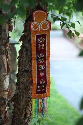 8 symbol tibetan silk brocade banner