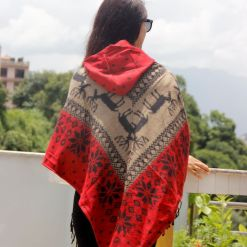 christmas snow pattern woolen poncho