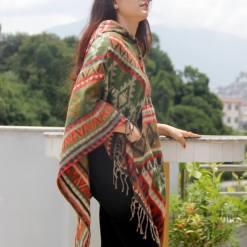 geometric pattern woolen poncho