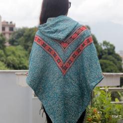 dhaka pattern woolen poncho