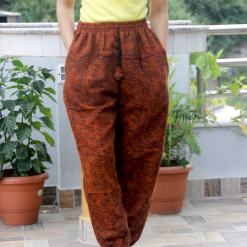 Unique Orange Acrylic Woolen Trouser