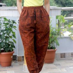 Unique Orange Acrylic Woolen Trouser