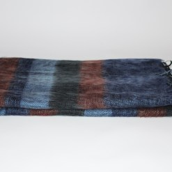 Yak Wool Shawl Stripe Blue Grey Color