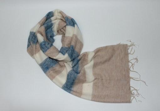 Yak Wool Shawl Stripe Beige Cream Color