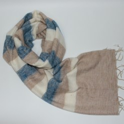 Yak Wool Shawl Stripe Beige Cream Color