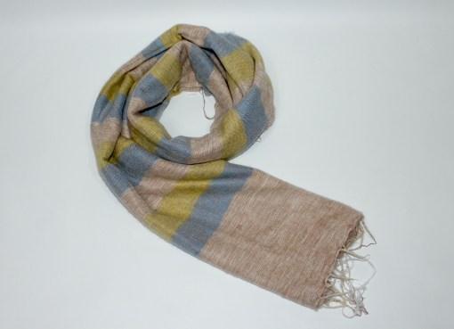 Yak Wool Shawl Stripe Beige Yellow Color