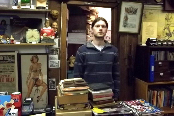 David Wilsdon - Owner of Wolverhampton Books & Collectables behind the counter