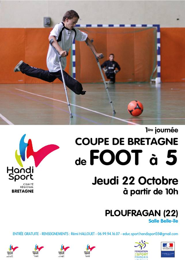 affiche de la première journée de Coupe Bretagne en Foot 5
