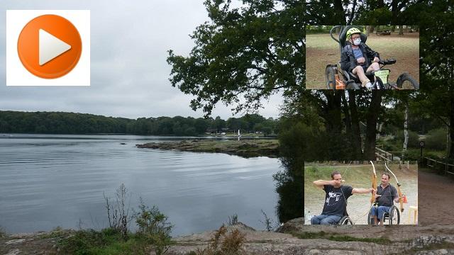 Montage photo du Lac de Trémelin en arrière plan avec 2 médiallons image de Fauteuil Tout Terrain et de Tir à l'Arc