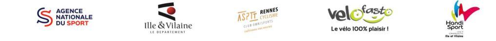 Logo des partenaires : Agence nationale du sport, département d 'Ille et Vilaine, ASPTT, VeloFasto et CDH 35