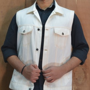 Eco-friendly Handloom Selvedge Denim Trucker Sleeve-less Jacket for Men White
