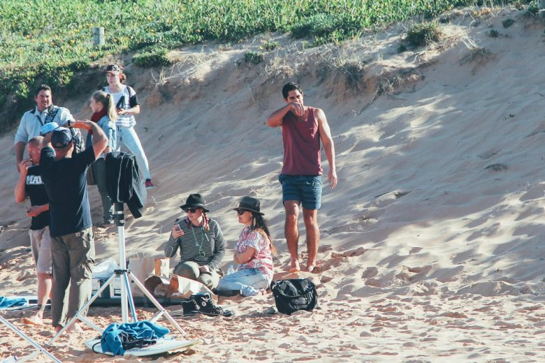 Home and Away Cast and crew on the beach in Palm Beach, Sydney, Australia (1)