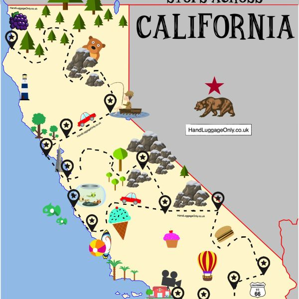 The Ultimate Road Trip Map Of Places To See In California (1)