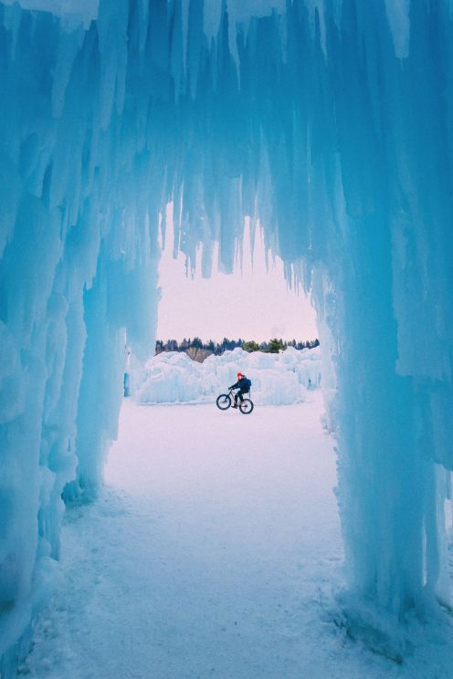 Fat Biking Across The Frozen River Valley To The Ice Castles Of Edmonton, Canada (33)