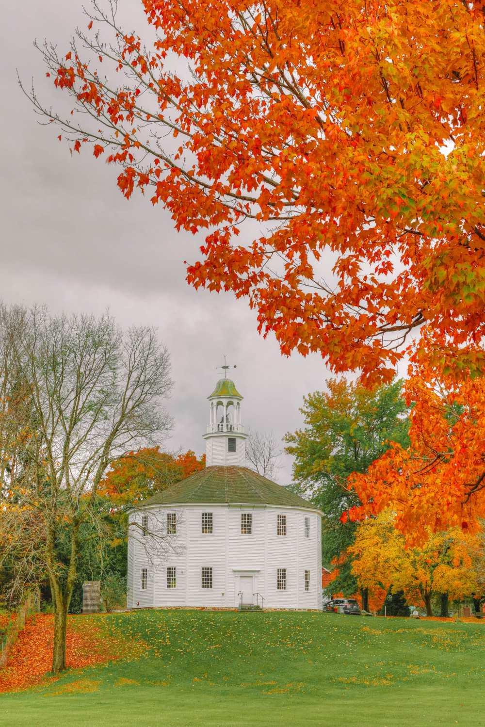 Round Old Church near Burlington in Ludlow Vermont