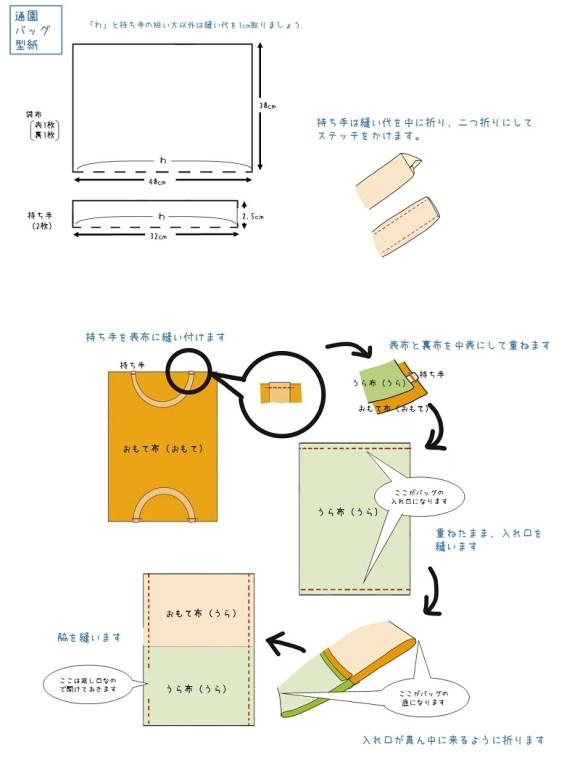 保育園バッグ・作り方 (1)