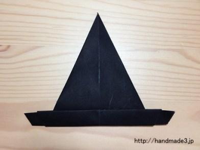 折り紙でハロウィンの帽子を折った