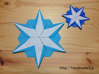 折り紙で雪の結晶