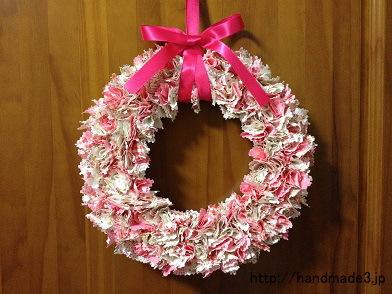 布で作ったクリスマスリース