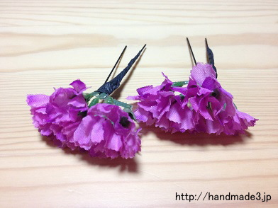造花で髪飾りを作った