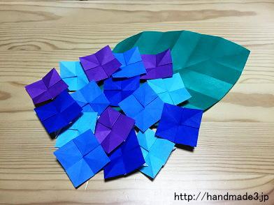 折り紙であじさいを作った